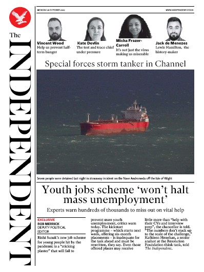 The Independent Newspaper Front Page (UK) for 26 October 2020