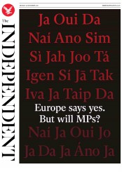 The Independent (UK) Newspaper Front Page for 26 November 2018