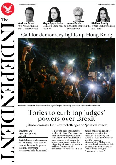 The Independent Newspaper Front Page (UK) for 26 November 2019