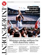 The Independent front page for 26 November 2020