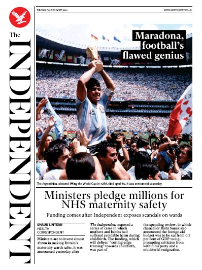 The Independent Newspaper Front Page (UK) for 26 November 2020