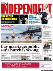 The Independent Newspaper Front Page (UK) for 26 December 2012