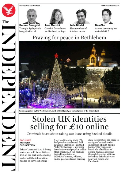 The Independent Newspaper Front Page (UK) for 26 December 2018