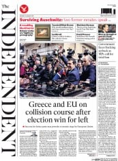 The Independent (UK) Newspaper Front Page for 26 January 2015