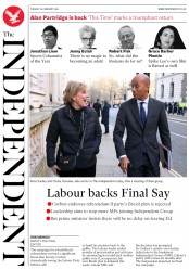 The Independent () Newspaper Front Page for 26 February 2019