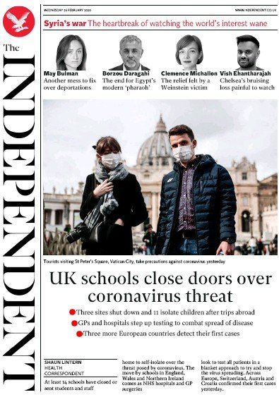 The Independent Newspaper Front Page (UK) for 26 February 2020