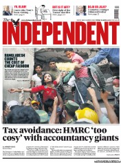 The Independent () Newspaper Front Page for 26 April 2013