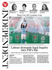 The Independent front page for 26 April 2021