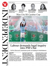 The Independent () Newspaper Front Page for 26 April 2021