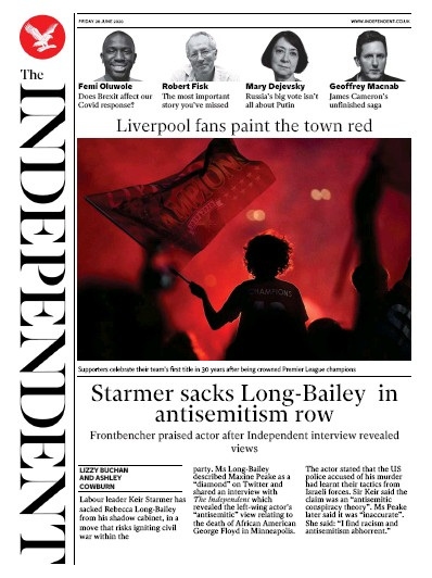 The Independent Newspaper Front Page (UK) for 26 June 2020