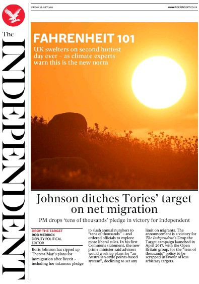 The Independent Newspaper Front Page (UK) for 26 July 2019