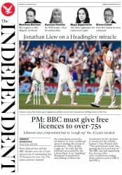 The Independent () Newspaper Front Page for 26 August 2019
