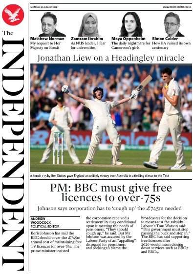 The Independent Newspaper Front Page (UK) for 26 August 2019
