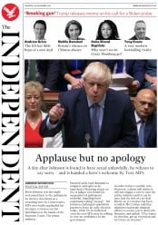 The Independent (UK) Newspaper Front Page for 26 September 2019