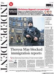 The Independent (UK) Newspaper Front Page for 27 November 2014