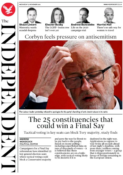 The Independent Newspaper Front Page (UK) for 27 November 2019
