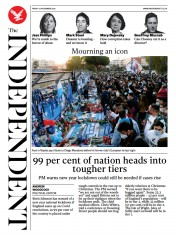 The Independent front page for 27 November 2020