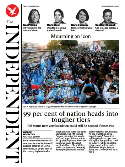 The Independent Newspaper Front Page (UK) for 27 November 2020