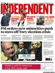 The Independent Newspaper Front Page (UK) for 27 December 2012