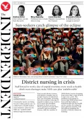 The Independent (UK) Newspaper Front Page for 27 December 2019