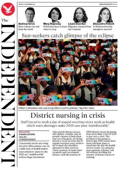 The Independent Newspaper Front Page (UK) for 27 December 2019