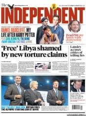 The Independent () Newspaper Front Page for 27 January 2012