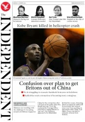 The Independent (UK) Newspaper Front Page for 27 January 2020