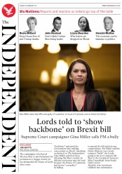The Independent (UK) Newspaper Front Page for 27 February 2017