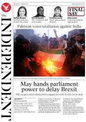 The Independent (UK) Newspaper Front Page for 27 February 2019