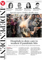 The Independent (UK) Newspaper Front Page for 27 February 2020