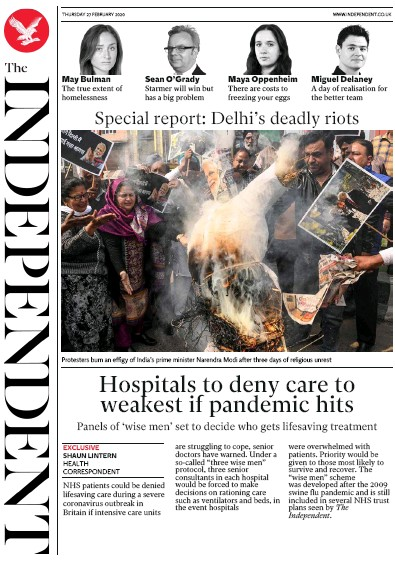The Independent Newspaper Front Page (UK) for 27 February 2020