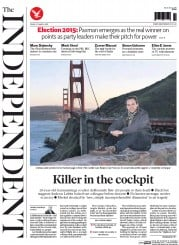 The Independent (UK) Newspaper Front Page for 27 March 2015
