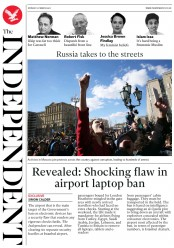 The Independent (UK) Newspaper Front Page for 27 March 2017