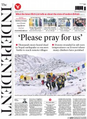 The Independent (UK) Newspaper Front Page for 27 April 2015