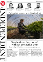 The Independent (UK) Newspaper Front Page for 27 April 2020