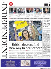 The Independent (UK) Newspaper Front Page for 27 May 2015