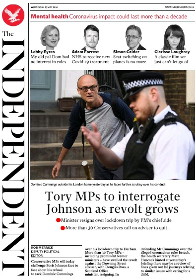 The Independent Newspaper Front Page (UK) for 27 May 2020