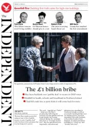 The Independent (UK) Newspaper Front Page for 27 June 2017