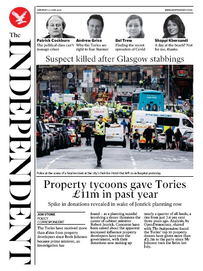The Independent Newspaper Front Page (UK) for 27 June 2020