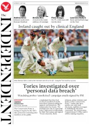 The Independent (UK) Newspaper Front Page for 27 July 2019