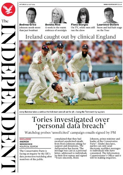 The Independent Newspaper Front Page (UK) for 27 July 2019