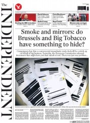 The Independent (UK) Newspaper Front Page for 27 August 2015