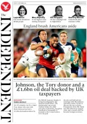 The Independent (UK) Newspaper Front Page for 27 September 2019