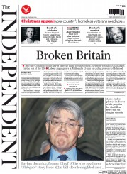 The Independent (UK) Newspaper Front Page for 28 November 2014