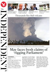 The Independent (UK) Newspaper Front Page for 28 November 2017