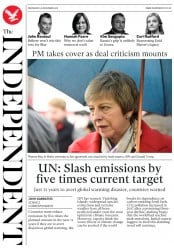 The Independent (UK) Newspaper Front Page for 28 November 2018