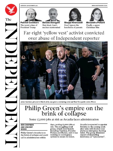 The Independent Newspaper Front Page (UK) for 28 November 2020