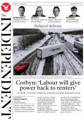 The Independent (UK) Newspaper Front Page for 28 December 2017