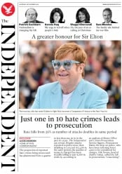 The Independent (UK) Newspaper Front Page for 28 December 2019