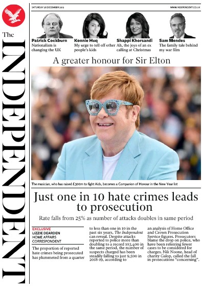 The Independent Newspaper Front Page (UK) for 28 December 2019